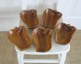 Vintage Wood Bowls, Monkey Pod Bowls, Mid Century Bowls, Set Wood Bowls