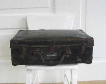 Vintage Black Case, Black Suitcase, Industrial Case, Military Storage