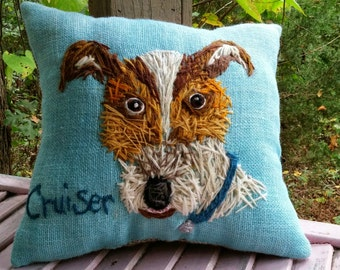 Your Dog FreeHand Embroidered on LARGE Pillow Made to Order