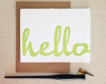 Green hello wood type script letterpress card