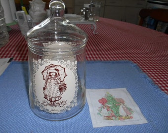 Vintage Holly Hobbie Glass Canister Jar with lid