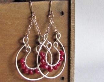 Bohemian Hoop Earrings - Sterling Silver and Ruby Quartz - Boho Chic - Boho Style Jewelry - Hoop Earrings