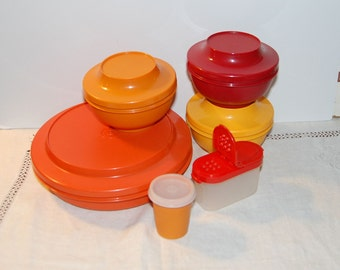 LOT of Vintage Tupperware Fall Colors Bowls Spice Storage Containers