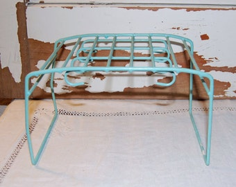 Vintage Aqua Blue Turquoise CUP PLATE RACK  Travel Trailer Glamping