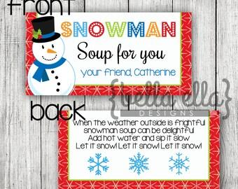 Snowman soup bag topper printable
