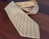 Retro Silk Tie, Mens Vintage Necktie, Yellow Gold Tie Light Blue Waves, Vintage Tie, Vintage Silk Necktie, Mad Men Office Attire Formal Wear