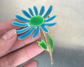 Flower Power 60s Vintage Brooch, Blue Green Enamel Brooch, Enameled Gold Flower Pin, 1960s Jewelry, Turquoise Blue Daisy Brooch, Vintage 60s