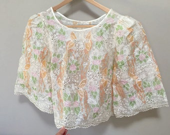 Beautiful 1960s Blouse, Sheer Embroidered Blouse, Floral Eyelet Blouse, Bohemian Vintage 60s Wide Sleeves Cropped Boho 60s Top Playa Wear M