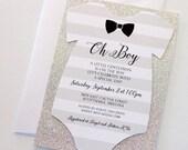 Baby Shower Onesie Invitation - Glitter Shower Invitation - Baby Boy Invitation - Bow tie Invitation - Little Man Shower - Quantity 25