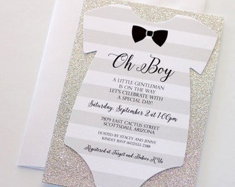 Baby Shower Onesie Invitation - Glitter Shower Invitation - Baby Boy Invitation - Bow tie Invitation - Little Man Shower - Quantity 25