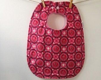 Dark Pink Floral Baby Bib - Oversize Baby Bib with Snaps
