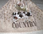 Crochet Kitchen Hanging Towel, Country Animals, Kay Dee Design, Tan top