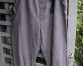 Baggy Plus Size Trousers/ Navy and Tan Check Cotton Pants/ Drawstring Waist, Rolled Hem L-3X Pants/ Sheerfab Funwear