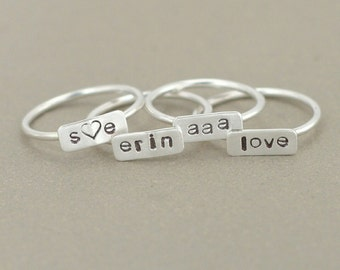 personalized ring. silver name ring. bar name ring. mother's ring. inspirational ring. initial ring. monogram ring. best friends ring.
