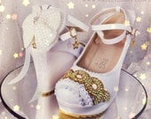PRINCESS SERENITY | Sailor Moon | Bishōjo Senshi | Crescent Moon | Design for Heels or Wedges w/ Crystal Rhinestones,Glitter,Pearls, & Bows