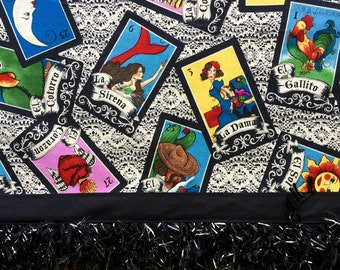 Mexican Loteria Tablecloth Sparkling Black Fringe