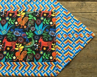 Mexican Tablecloth Table Runner Folklorico Otomi Style Animals Black Tribal Reversible