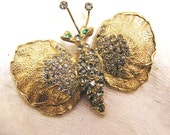 Vintage DeNicola Gold Plated Rhinestone Embellished 1960's Butterfly Brooch with Beautifully Textured Metal 2 by 1 1/2  Inches (J18)