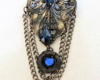 Antique Vintage 1930s Art Nouveau Dangle Brooch by Style Metal Spec. N.Y. with Blue Teardrop Round Stones (J147)