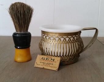 Vintage Milk Glass Shaving Mug with Brass Filigree Holder, Fuller Shaving Brush with Bakelite Handle and Packet of Razor Blades