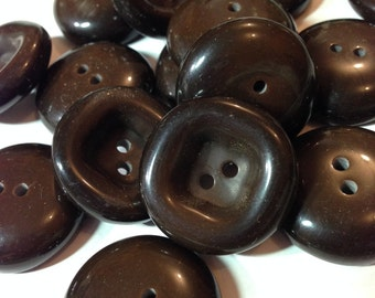 Vintage Dark Brown Buttons Large for Coats