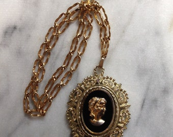 Vintage Large Cameo Necklace with Black Stone