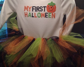 My 1st Halloween bodysuit with tutu and crochet hat