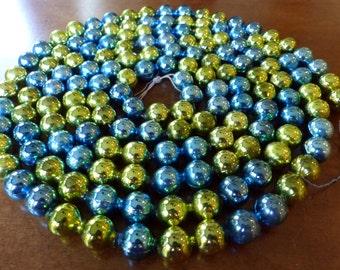Vintage Mercury Glass Bead Garland Blue Green - 7+ Feet - 1/2 Inch