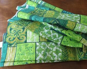 Vintage Barkcloth Fabric 5th Avenue Design NOS Green Geometric