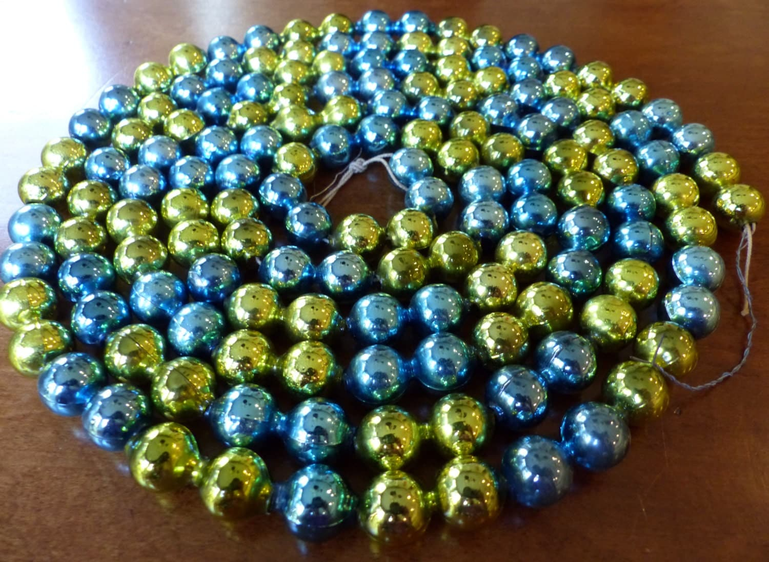 Vintage mercury glass bead garland blue green feet