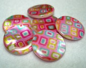 Pink with Colorful Squares Printed Flat Round Shell Beads (Qty 6) - B2913