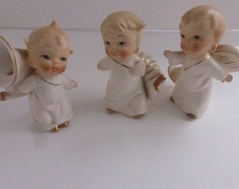 Vintage Mid Century Wales Ceramic Cherub Angles with Musical Instruments