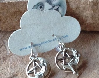 Lady on the Moon Earrings Silver Lady on Zinc pentagram with Sterling Silver Ear Wires Lovely Goddess Jewelry Thoughtful Priestess Gift