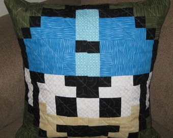 Megaman Extra Life Quilted Pillow Cover - dark green background - free USA shipping