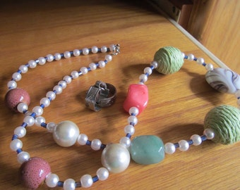 Pearl colorful necklace plus