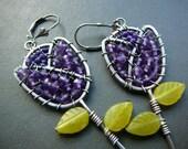 Purple Tulip handmade earrings - sterling silver, amethyst  and green jade