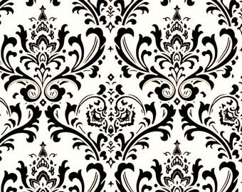 "Traditions Damask Black on White | 54"" width fabric 