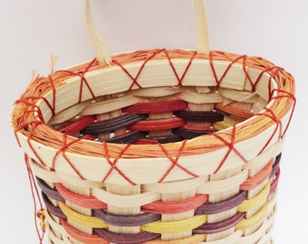 Woven Wall Pocket, Orange Purple, Yellow, Orange, Cream, Wall Basket