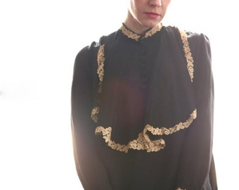 ON SALE Antique Blouse, Black with Lace
