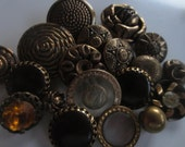 Vintage Buttons - Lot of 19 assorted, bronze metalized novelty designs, (oct 7)