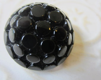 Vintage Buttons - lot of 1 large jet black, pressed floral design Victorian (lot oct 36b )