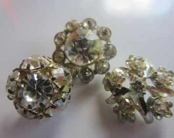 Vintage buttons, rhinestone styles, 5/8-3/4 inch, 1950's, metal, rhinestones, lot of 3  flower designs (sept 207) )
