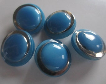 Vintage buttons, 5 medium matching blue glass with gold hand painting, very sweet, (oct 12)