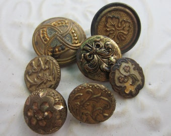 Vintage Buttons - Collector molded metal, Victorian and Collector, small, to large assorted designs, lot of 7(apr 86b)