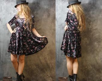 Vintage Baby Doll Dress Bohemian Grunge Velvet Floral Skater Skirt  Majik Horse 1980s 1990s Dress
