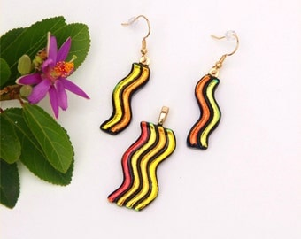 Fused dichroic glass pendant and earring, wave, gold, orange, yellow, red