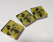 Set of 3 Sparkly Fleur De Lis Photo Art Resin Square Cabochons Jewelry Making Phone Case Decoden Scrapbooking A2