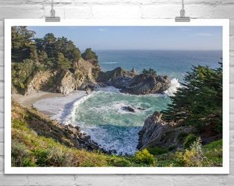 Beach Photography, California Art, Ocean Seascape, Waterfalls, California Coast, McWay, MurrayBolesta, Big Sur Photograph, Art Photography