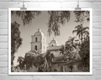 Santa Barbara Art, Sepia Print, Black and White Photography, California Missions, Church Art, Architecture Art, California Art
