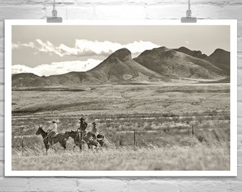 Cowboy Print, John Wayne, Black and White, Horse Art, Sepia, Horse Photography, Equestrian Art, Equine Art, Empire Ranch, Wild West, Arizona
